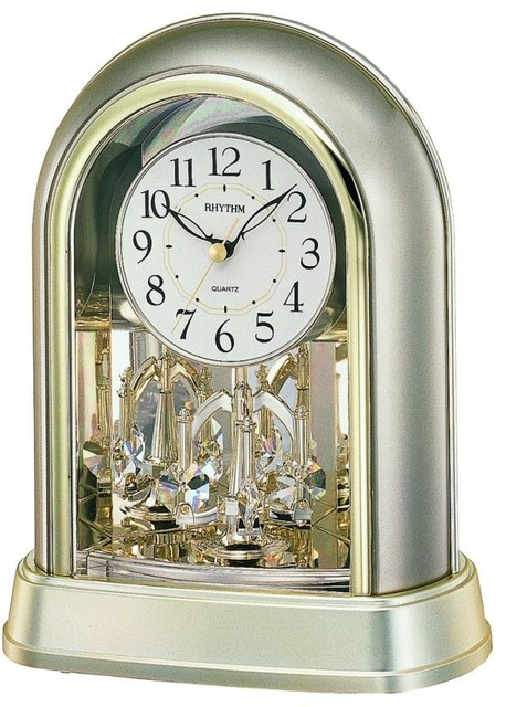 Crystal Mantel Clock Silver - Traditional - Desk And ...