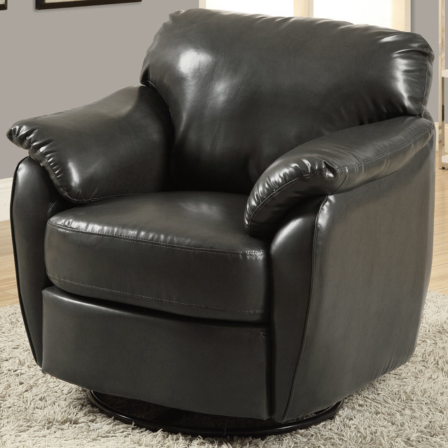 Charcoal grey leather look swivel accent chair for Modern swivel accent chair