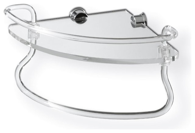 Clear Glass Large Corner Bathroom Shelf With Railing And Towel Bar - Contemporary - Bathroom ...