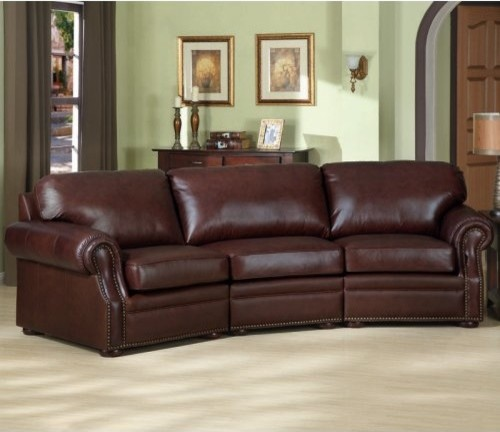 Charles schneider lily brown leather sectional sofa for Traditional brown leather couch