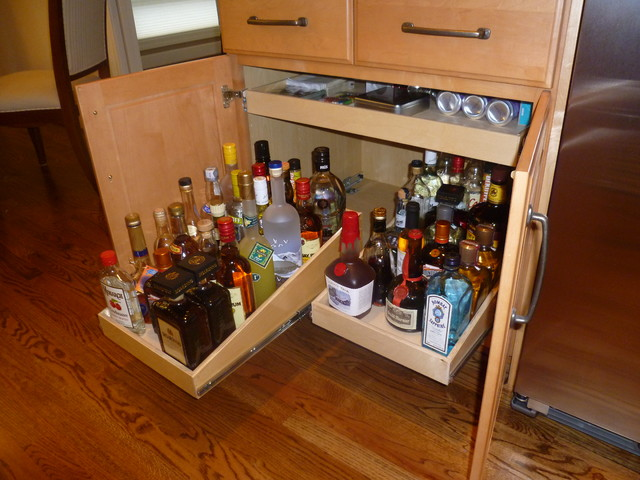 Pull Out Shelves for Your Wet Bar or Liquor Cabinet - Cabinet And ...