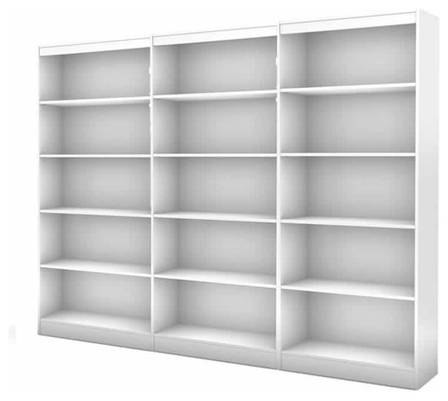 South Shore Axess 5 Shelf Wall Bookcase in Pure White transitional-bookcases