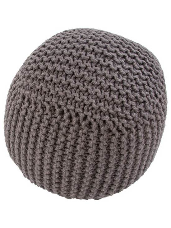Jaipur Rugs - Forda Arcade Pouf, Charcoal - Inspired by chunky knitted blankets and clothing, these natural fiber poufs are as textural as they are playful and fun.
