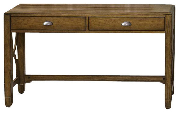 Liberty Furniture Town & Country 52x18 Rectangular Sofa Table in Oak, Light Wood traditional-console-tables