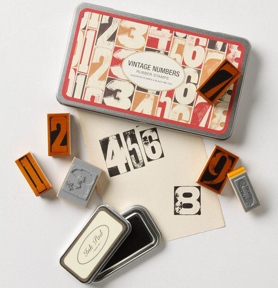 Vintage Numbers Stamp Set eclectic desk accessories