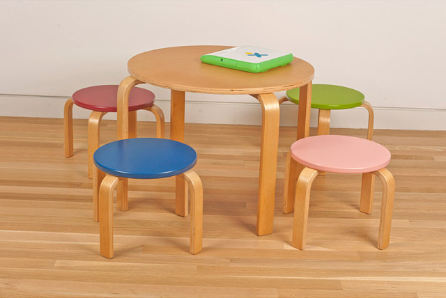 Kids Table And Four Stool Set Contemporary Kids