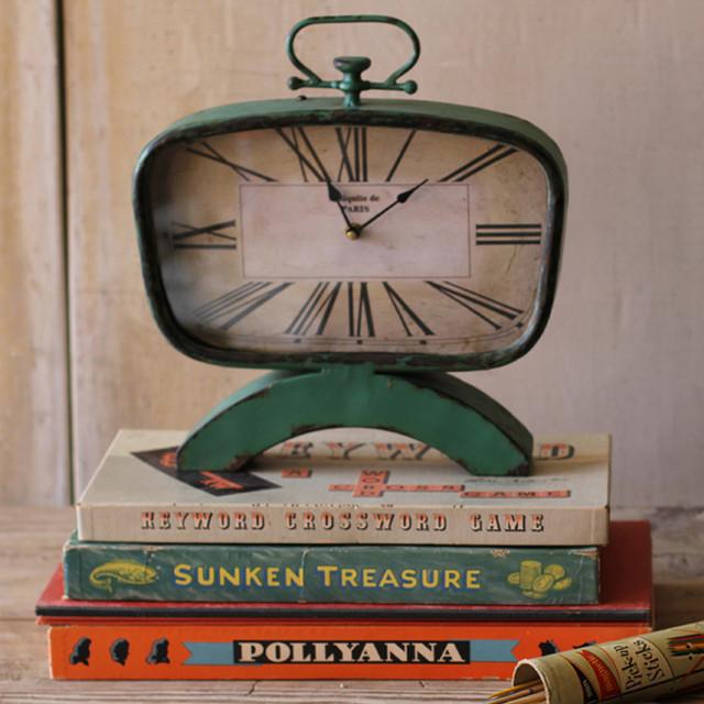 Mid Century Desk Clock industrial-desk-and-mantel-clocks