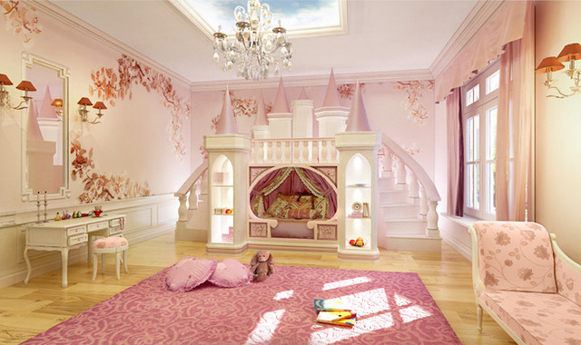 Girls ultimate princess theme room princess castle bed for Castle kids room