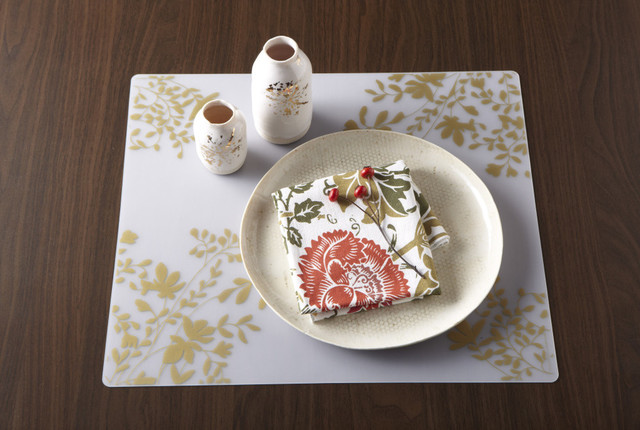 Modern-twist Placemat - Jardin - Gold on Clear modern-placemats