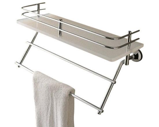 Toscanaluce - Plexiglass 13 Inch Bath Bathroom Shelf With Railing And Towel Bar - Unique, modern design wall mounted 13 inch plexiglass bathroom shelf with brass railing and towel bar.