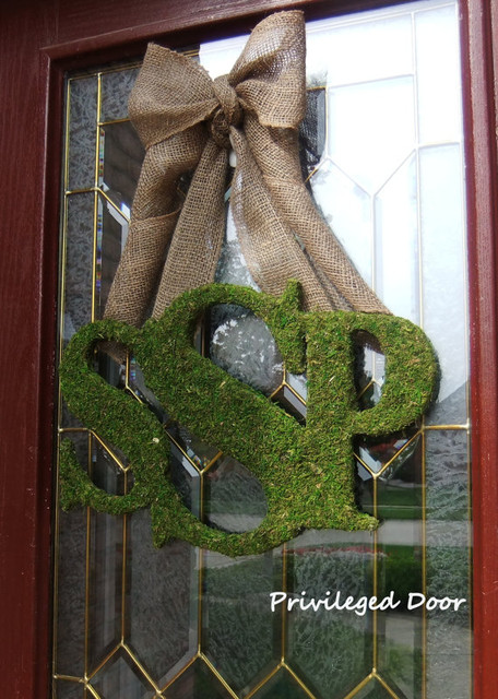 Fall Wreath, Moss Monogram by Privileged Door eclectic-outdoor-decor