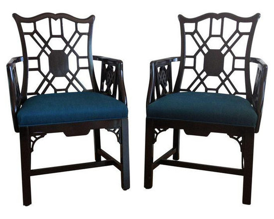 Chinese Style Chippendale Armchairs - A Pair - Dimensions 21.0ʺW × 17.0ʺD × 36.0ʺH