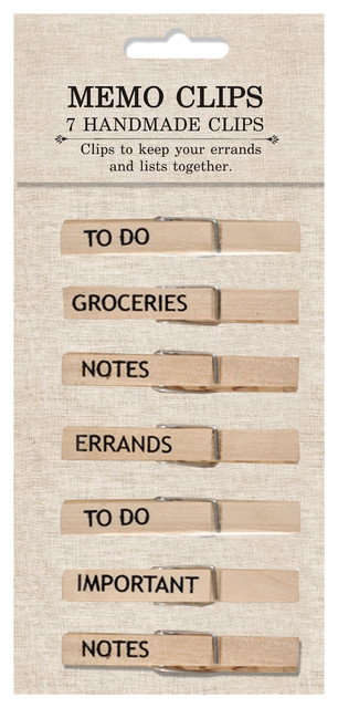 Handmade Memo Clips, Natural, Set of 7 eclectic-desk-accessories