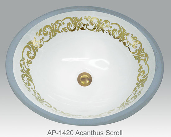 "Hand Painted Undermounts by Atlantis Porcelain - ""ACANTHUS SCROLLS"" Shown on AP-1420 WHITE Monaco Medium undermount 17-1/4""x14-1/4"".Available on burnished gold or platinum and bright gold or platinum on any of our sinks."