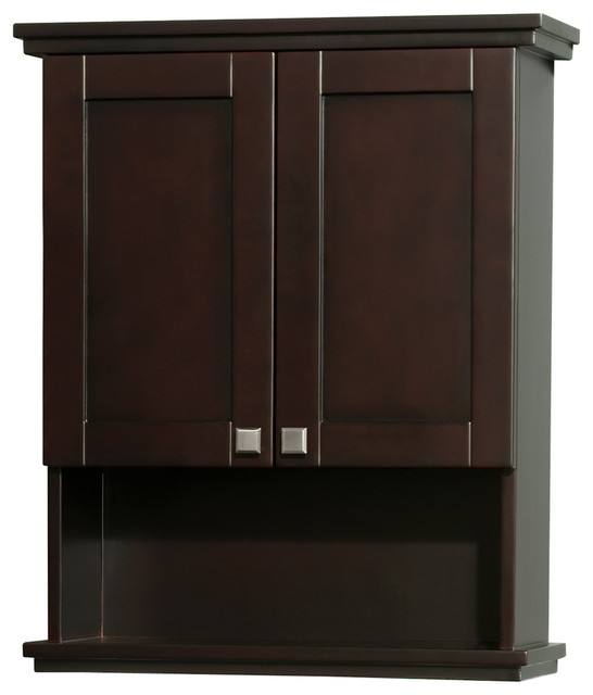 acclaim solid oak bathroom wall mounted storage cabinet in espresso
