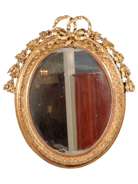 Current Inventory for Purchase - French Oval Mirror with Bow and Garlands