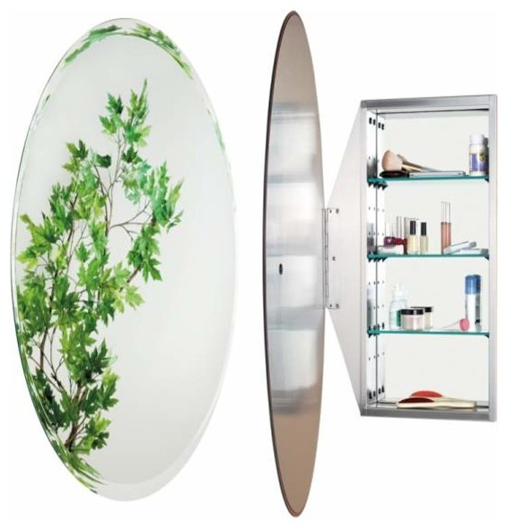 Alno Creations Oval Mirror Cabinet Stainless Steel Mc4952-Ss traditional-bathroom-mirrors