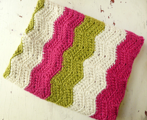 Baby Blanket in Pink, Lime Green and White by Bklyn Baby traditional-baby-bedding