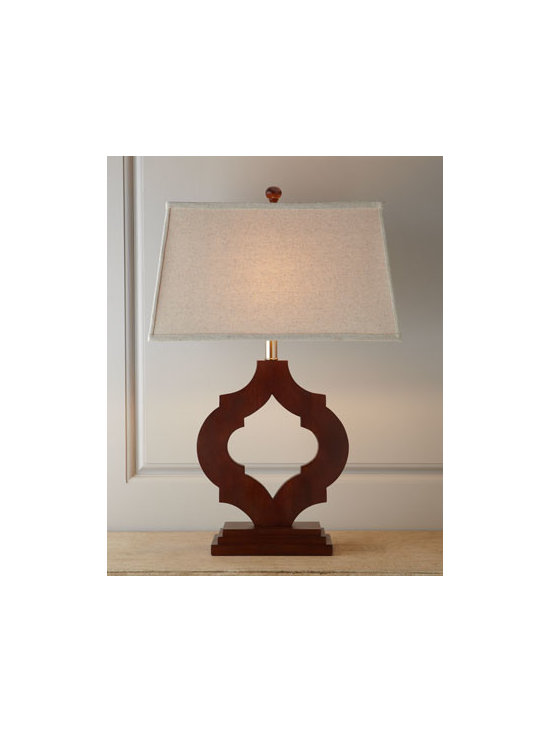 Horchow - Tangier Wooden Lamp - So simple yet so sophisticated, this globally inspired, sculptural lamp features a colonial arabesque pattern that recalls the centuries-old Moorish tiles of Spain or perhaps Morocco. Handcrafted of rubberwood. Espresso stain finish. Linen shade. ....