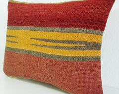 Hand Embroidered Turkish Antique Kilim Pillow Cover by sukan mediterranean-decorative-pillows