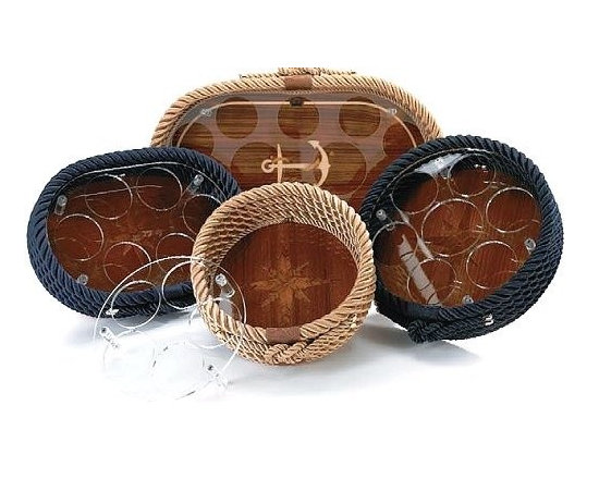Italian Coiled Rope And Teak Inlay Serving Trays -
