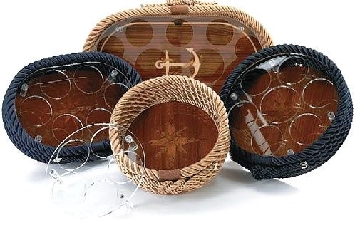 Italian Coiled Rope And Teak Inlay Serving Trays traditional-platters