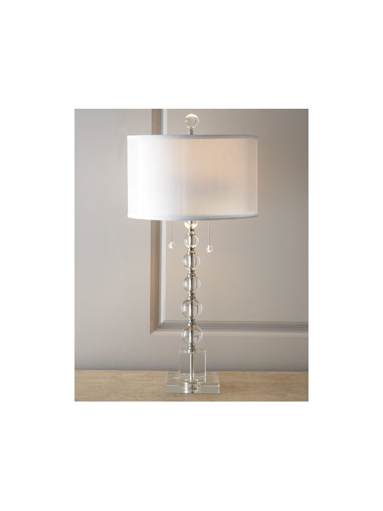 Horchow - Crystal Table Lamp - We love the contemporary styling of this crystal ball table lamp. Topped by a round linen shade, this on-trend lamp will accentuate any room with brilliance. Handcrafted of crystal and metal. Polished-nickel finish. Cream linen and polystyrene s...