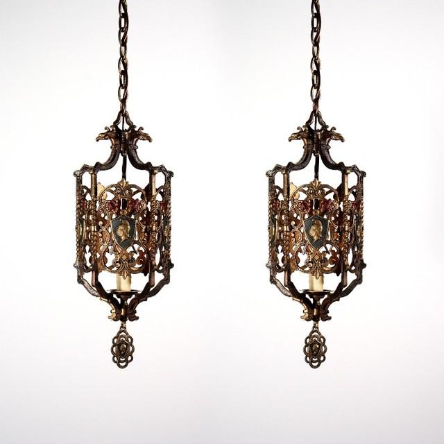 Antique Spanish Revival Lighting Mediterranean Pendant