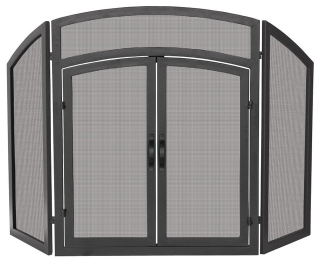 Uniflame 3 Panel Black Wrought Iron Arch Top Fireplace Screen with Doors - S-117 modern-fireplace-accessories