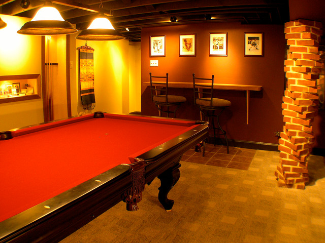 sports themed man cave traditional basement