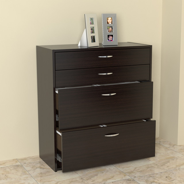 Inval Four Drawer File/ Storage Cabinet with Locking ...