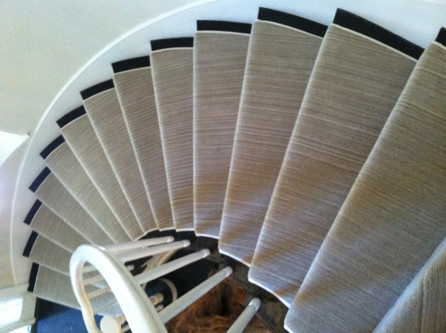 Contemporary Stair Carpet : ... Fabricated Turned Stair Runner Installation contemporary-staircase
