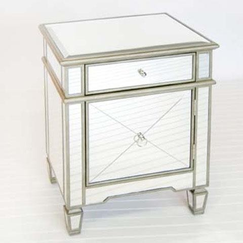 Worlds Away Crosshatch Mirrored Nightstand traditional-nightstands-and-bedside-tables