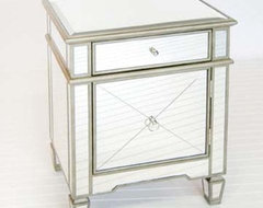 Worlds Away Crosshatch Mirrored Nightstand traditional nightstands and bedside tables