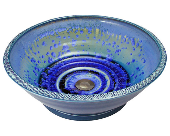 Indikoi Sinks LLC - DECO: Vessel Mount Sink, Sky Crystal - The Deco style is a contemporary stamped rim vessel mount sink.