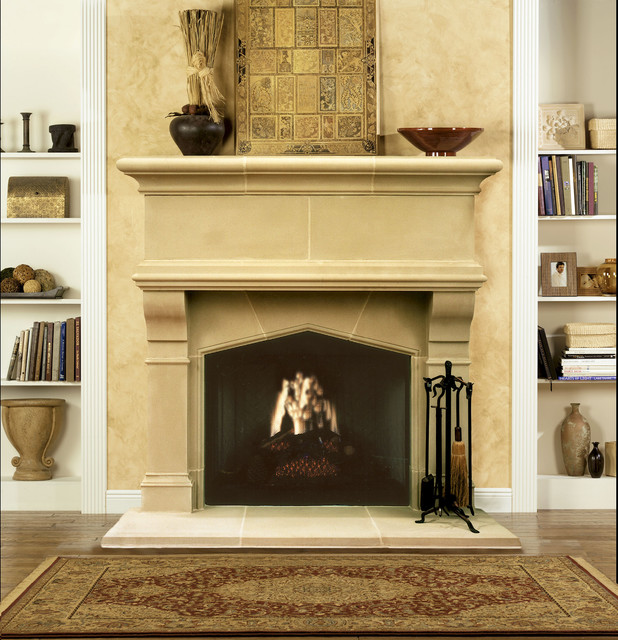Gatwick cast stone fireplace mantel traditional indoor for Cast stone fireplace mantels