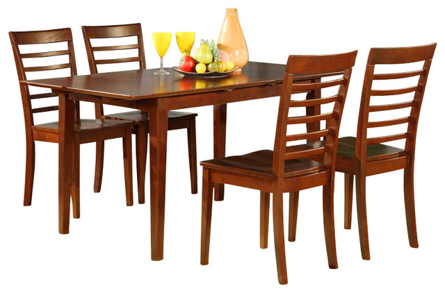 Picasso Butterfly Leaf Table Set Mahogany Contemporary