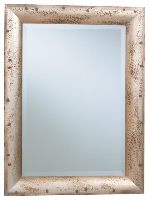 spotted silver leaf mirror traditional-mirrors