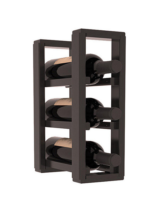 Wine Racks America® - 3 Bottle Counter Top/Pantry Wine Rack in Redwood, Black Stain + Satin Finish - These counter top wine racks are ideal for any pantry or kitchen setting.  These wine racks are also great for maximizing odd-sized/unused storage space.  They are available in furniture grade Ponderosa Pine, or Premium Redwood along with optional 6 stains and satin finish.  With 1-10 columns available, these racks will accommodate most any space!!