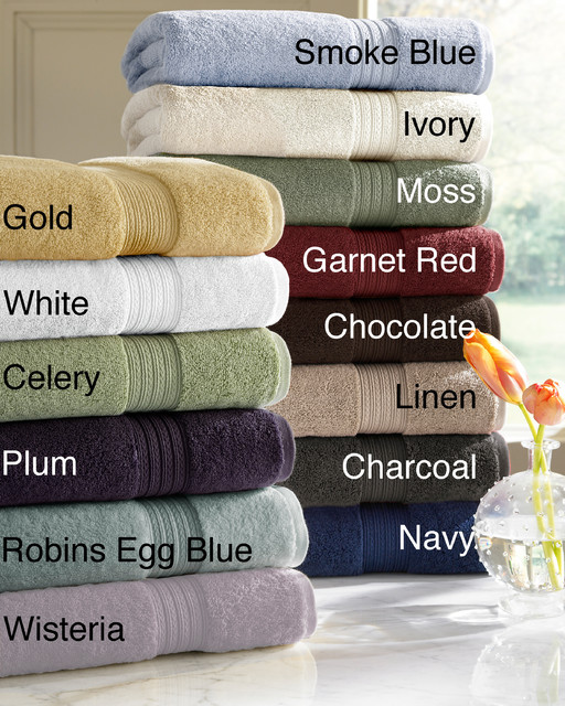 Absorbent Two-ply Egyptian Cotton Solid-colored 6-piece Towel Set contemporary-towels