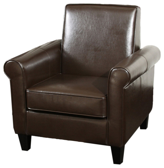 Larkspur Modern Design Brown Leather Club Chair Contemporary Armchairs An