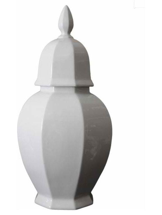 Hollywood Regency Urn - Hollywood Regency style ceramic urn with lid.