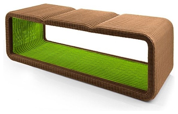 Modern Outdoor Wicker Bench Modern Outdoor Wicker Bench   Contemporary    Patio Furniture And