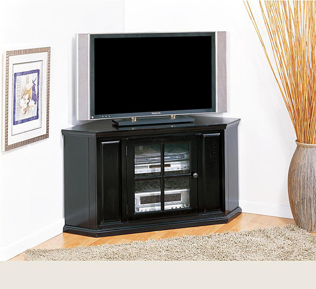 Rubbed Black 46-inch Corner TV Stand & Media Console - Contemporary - Media Storage - by ...