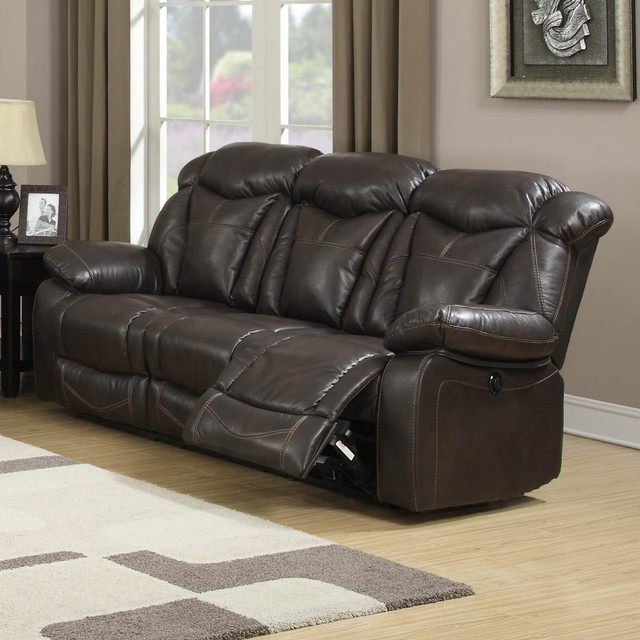 otto brown leather air reclining sofa contemporary. Black Bedroom Furniture Sets. Home Design Ideas