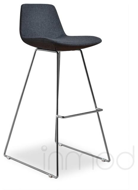 Para CSB Barstool Set Of 2 Gray Wool Fabric Modern Bar Stools And Coun