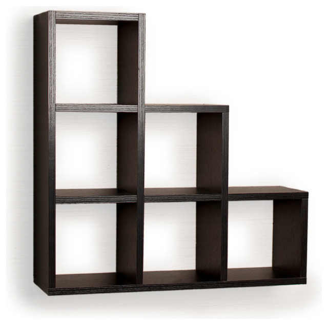 Contemporary Wall Shelves Decorative: Stepped Six Cubby Decorative Black Wall Shelf