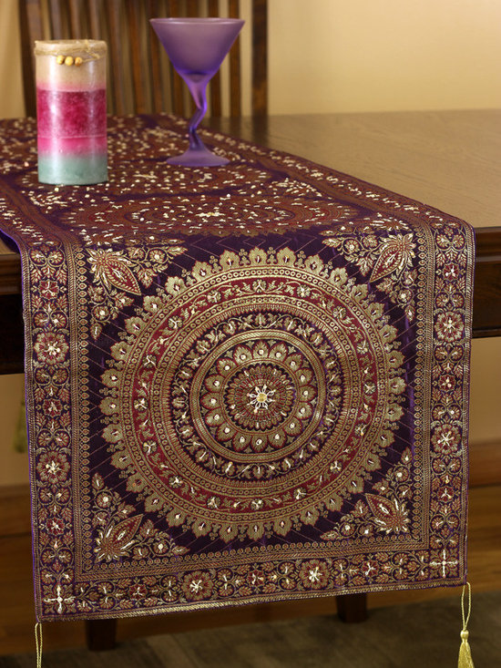 Elegant Table Runners - Hand embroidery and Oriental table runner design. Stunning Golden Purple color. Elegant complement to any room. Made in India.