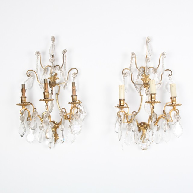 Wall Sconces Crystal : French-Antique-Crystal-Bronze-Sconces.jpg - Wall Sconces - vancouver - by The Antique Warehouse