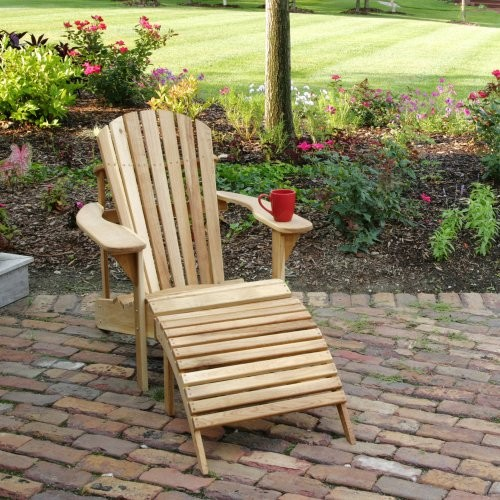 Hampton Deluxe Adirondack Chair & Ottoman - 2pc Set contemporary-outdoor-lounge-chairs